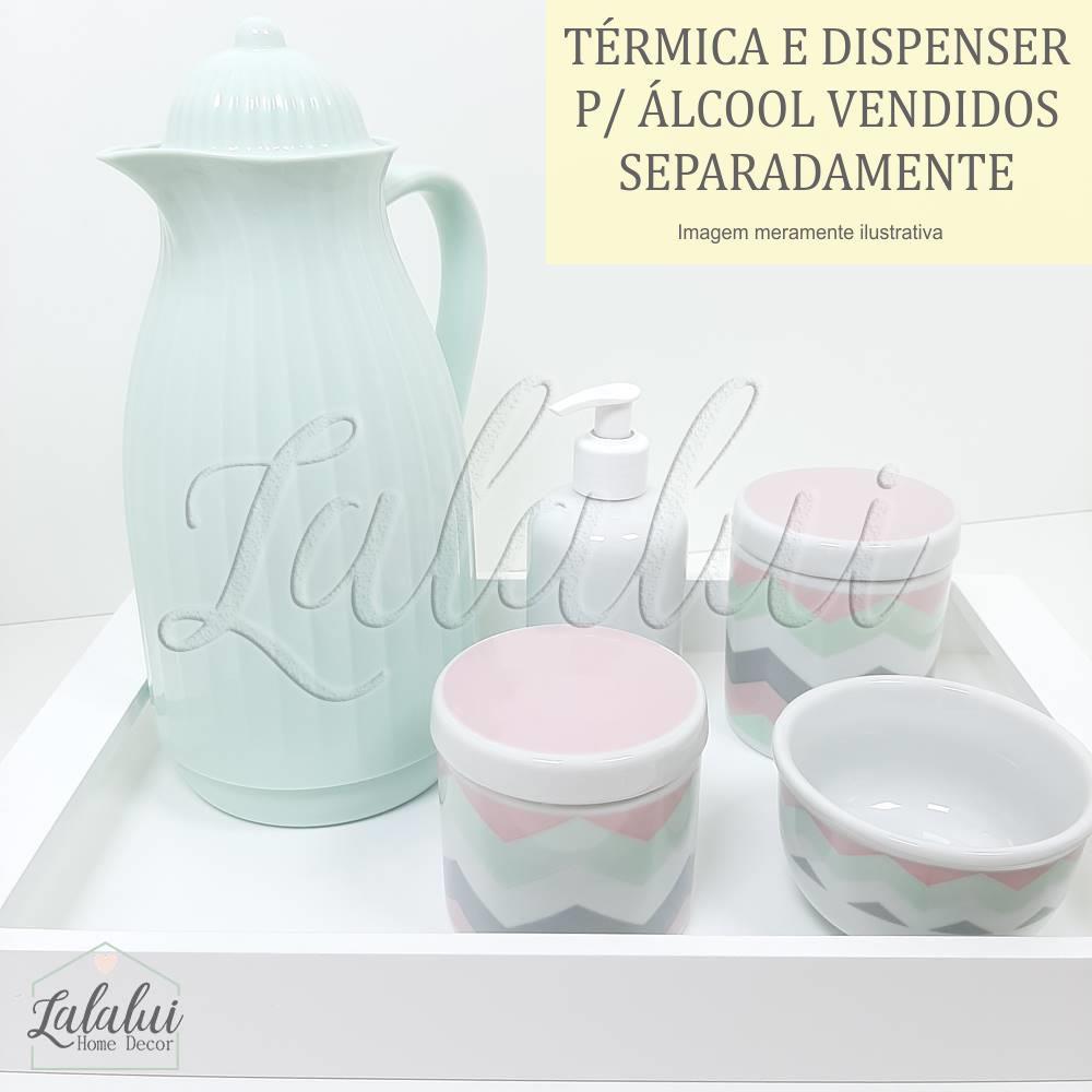 Kit Higiene | Branco com Chevron Rosa, Cinza e Verde (LA0302)