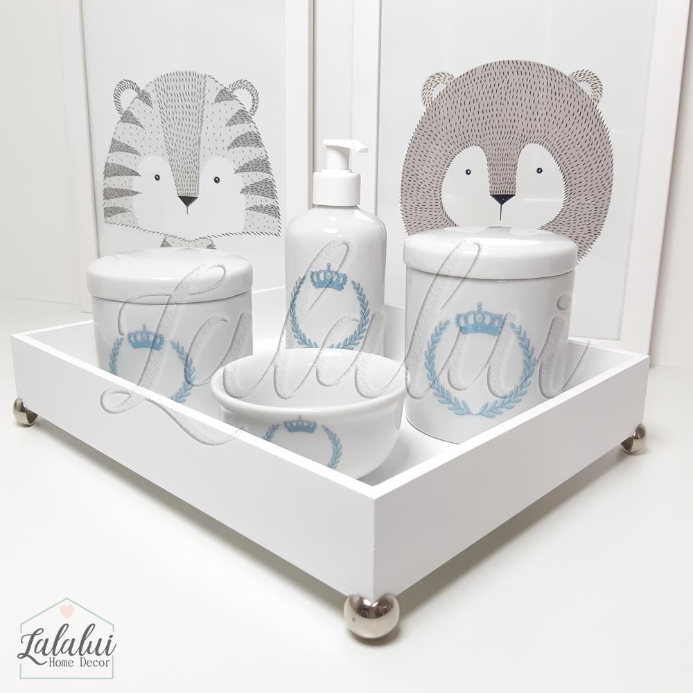 Kit Higiene Branco com Coroa Azul  K06 (Quarto de Menino)