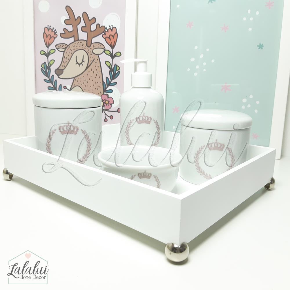 Kit Higiene Branco com Coroa Rosa  K26 (Quarto de Menina)