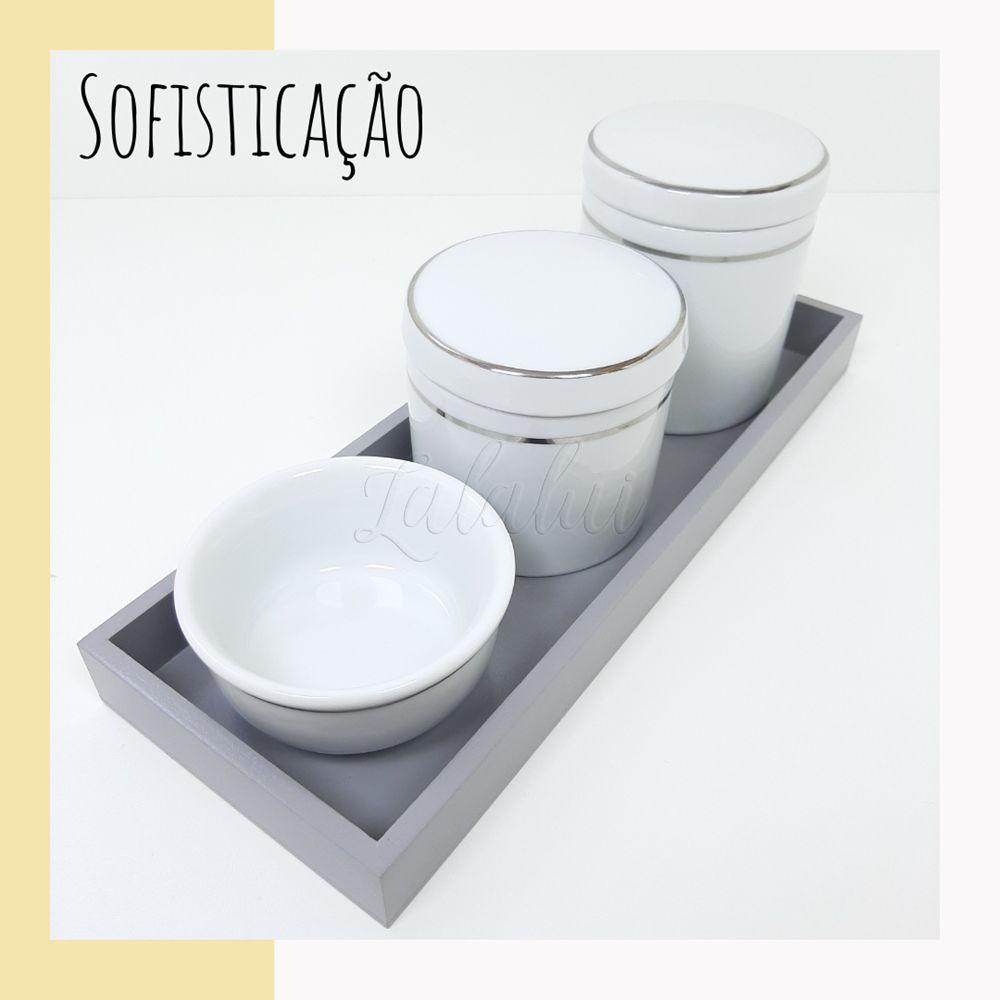 Kit Higiene   Branco com Filete Prateado (LA2201)