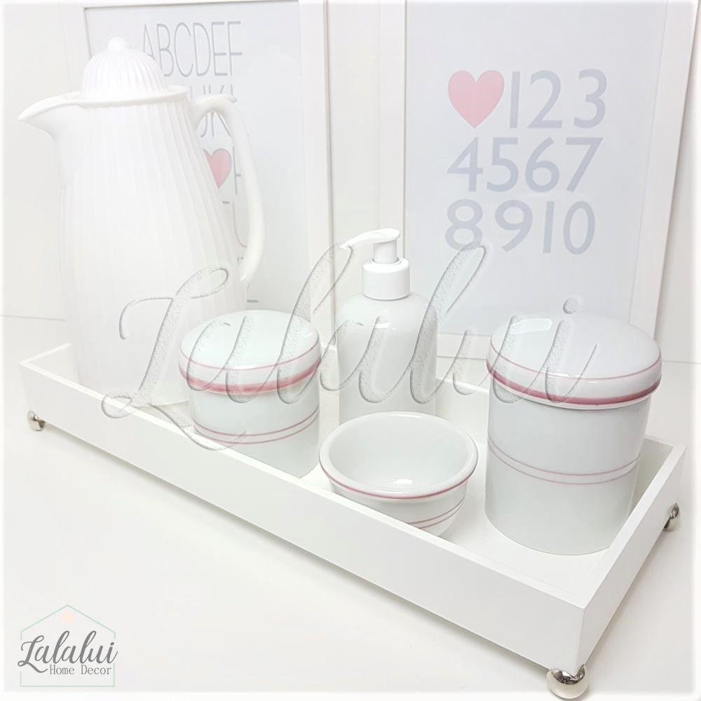 Kit Higiene Branco com Filete Rosa K43 (Quarto de Menina)
