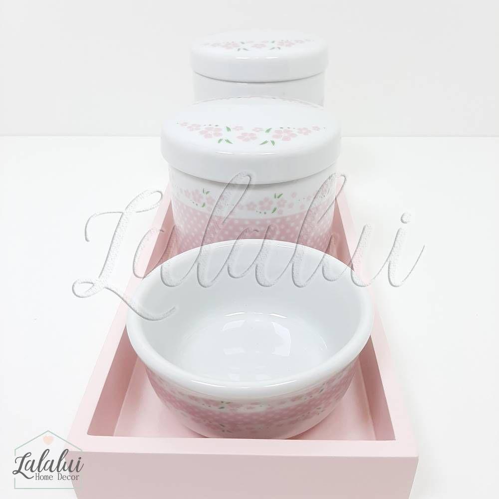 Kit Higiene | Branco com Floral Rosa (LA2037)