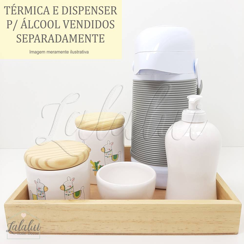 Kit Higiene | Branco com Lhamas e Madeira Natural (LA2175)
