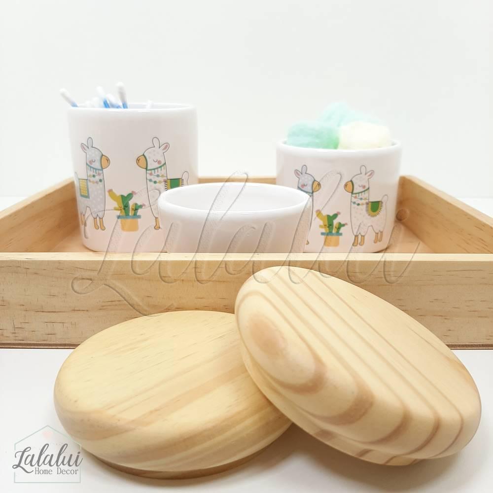 Kit Higiene   Branco com Lhamas e Madeira Natural (LA2175)