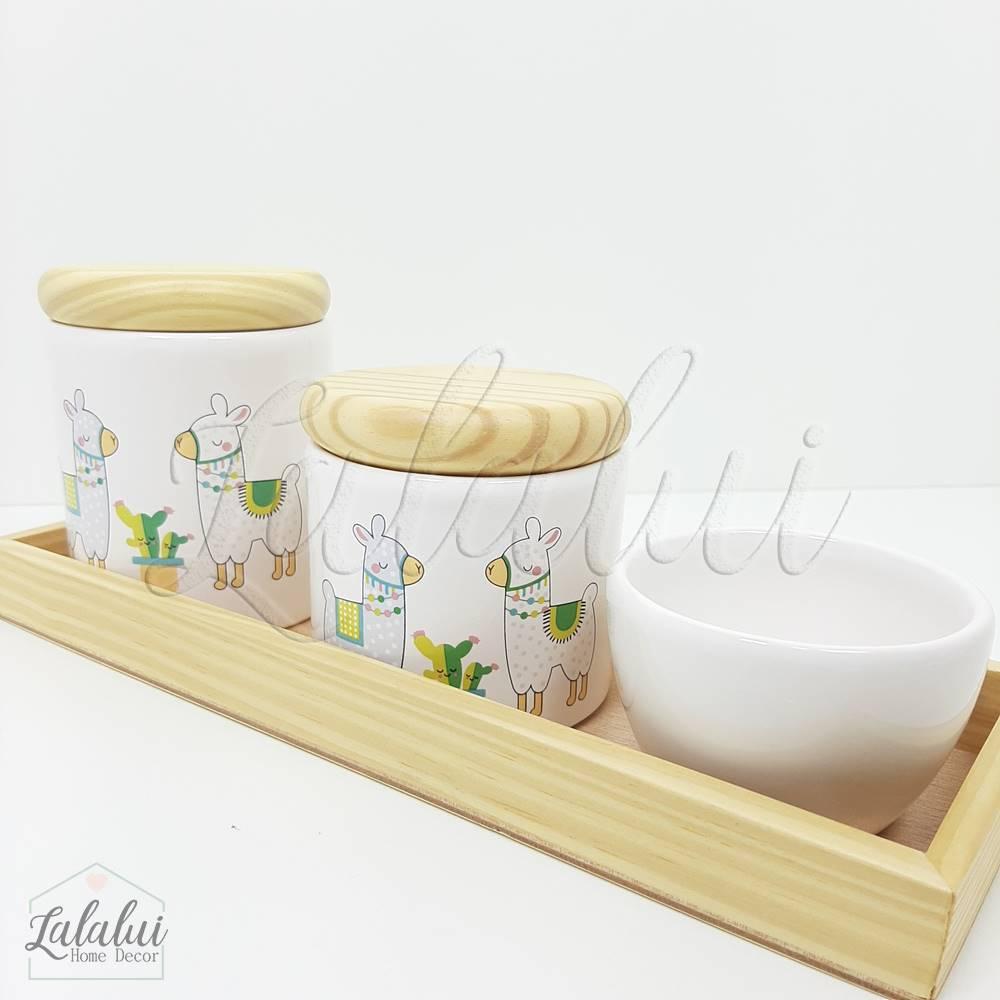 Kit Higiene | Branco com Lhamas e Madeira Natural (LA2177)