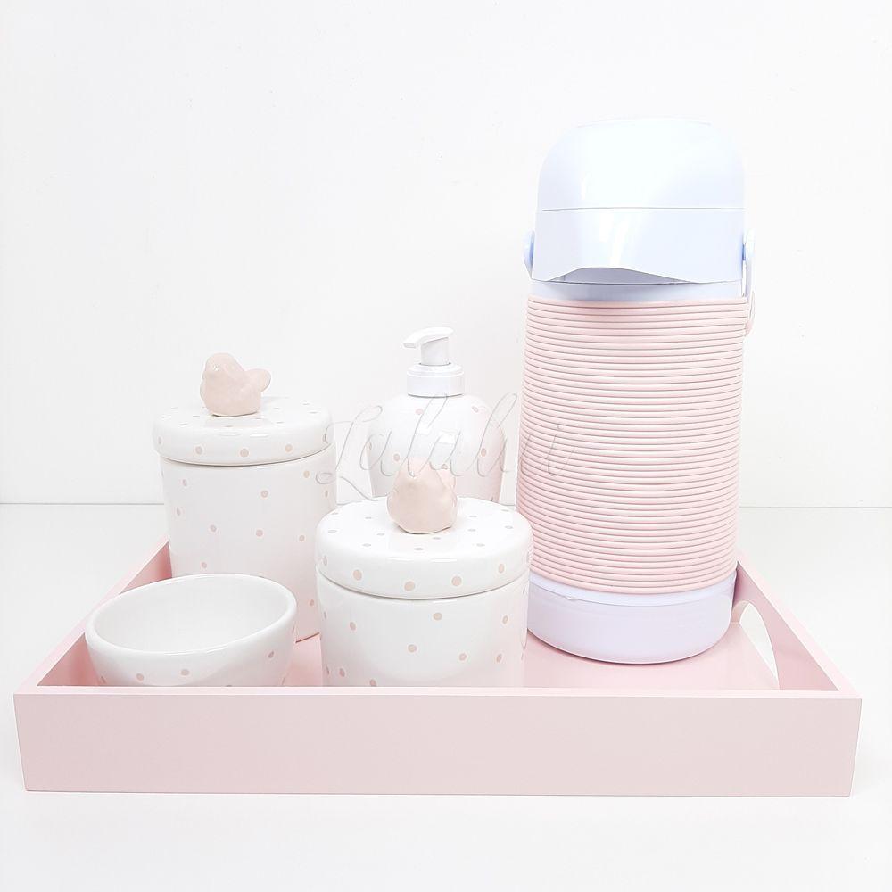 Kit Higiene | Branco com Poá Rosa e Passarinhos Completo  (LA2249)