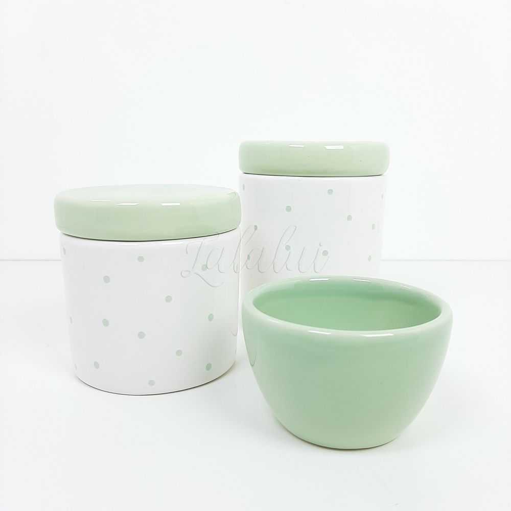 Kit de Potes| Branco com Poá Verde (LA2235)