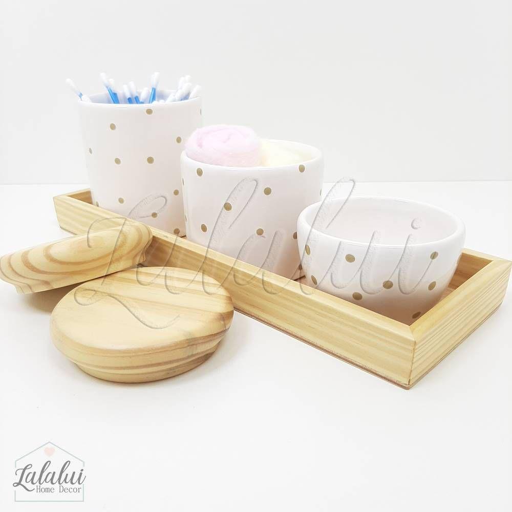 Kit Higiene | Branco com Poás bege e Madeira Natural (LA1095)