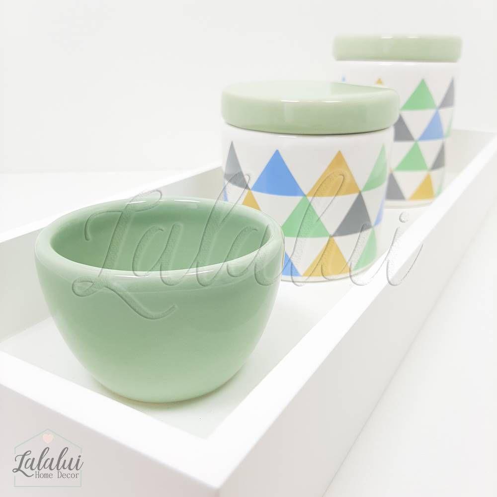 Kit Higiene | Branco com Triângulos Coloridos (LA2179)