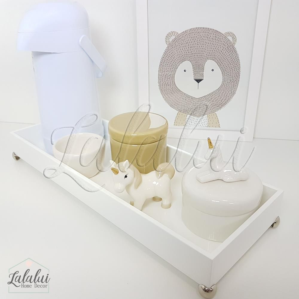 Kit Higiene Branco e Caqui com Unicórnios  K47 (Quarto Menino e Menina)