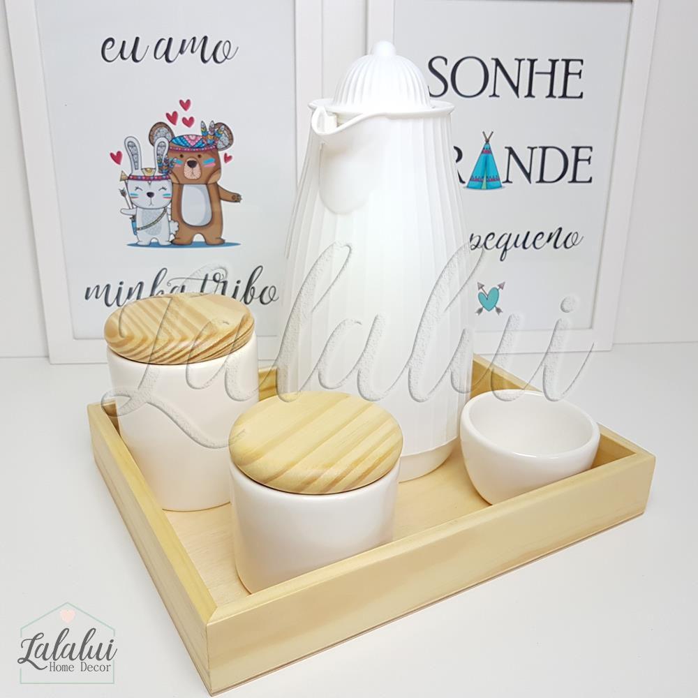 Kit Higiene Branco e Madeira Natural K40 (Quarto Menino e Menina)