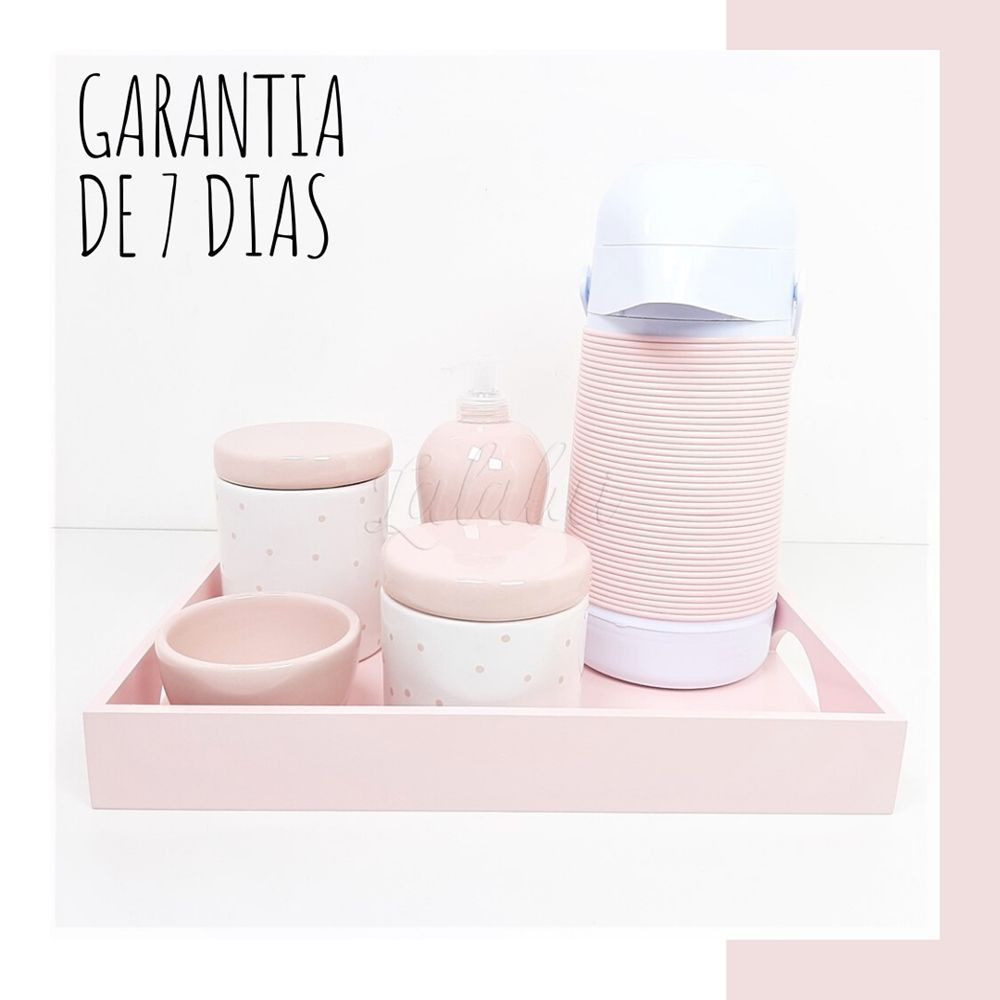 Kit Higiene | Branco e Rosa Candy com  Poás Rosa (LA1057)