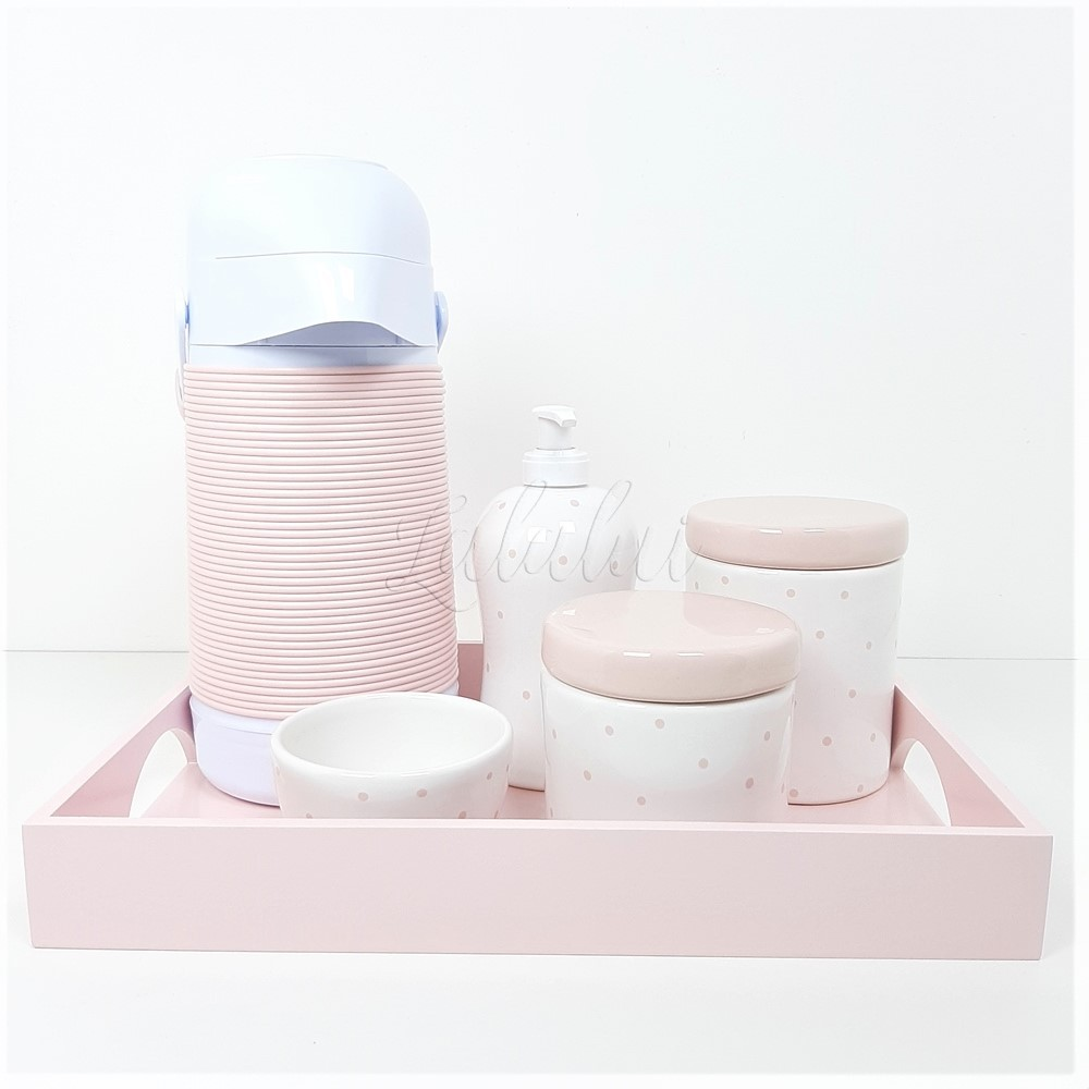 Kit Higiene   Branco e Rosa Candy com  Poás Rosa (LA1057)