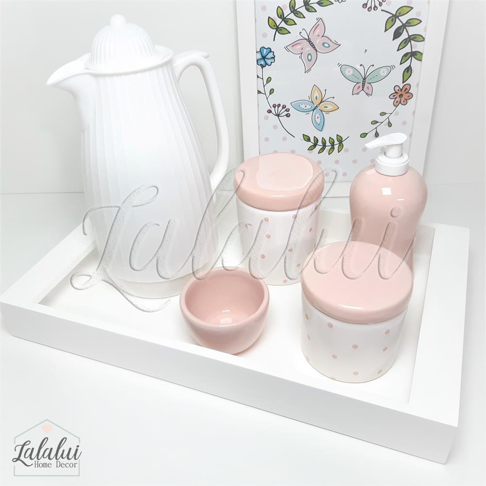 Kit Higiene Branco e Rosa com Poá  K53 (Quarto de Menina)