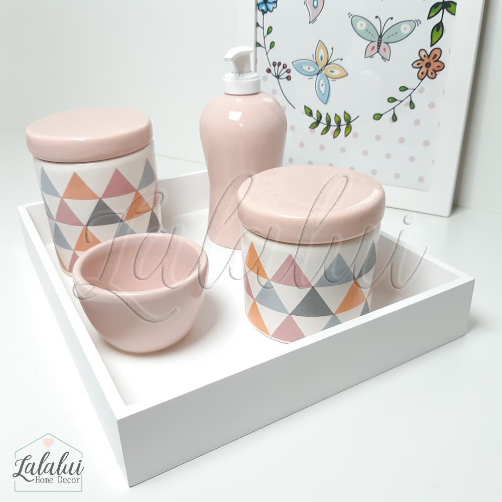 Kit Higiene Branco e Rosa com Triângulos cinza, rosa e laranja  K19 (Quarto de Menina)