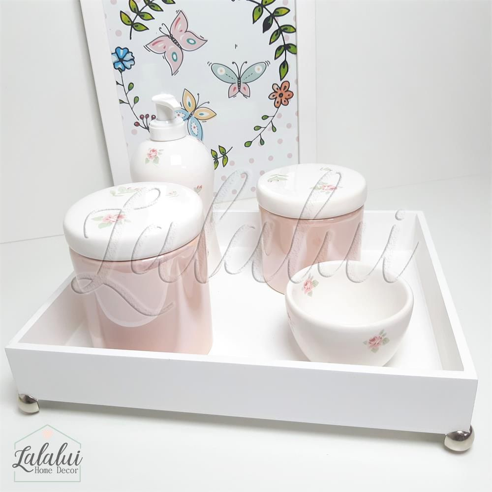 Kit Higiene Branco e Rosa Perolado com Floral  K22