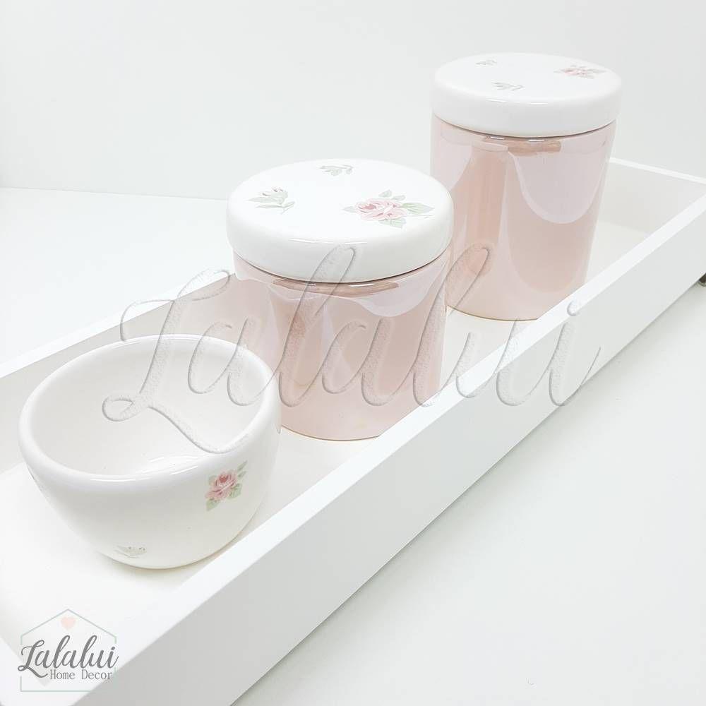 Kit Higiene | Branco e Rosa Perolado com Floral (LA1053)