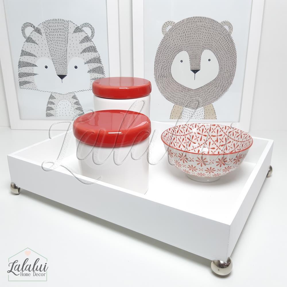 Kit Higiene Branco e Vermelho   K49 (Quarto de Menina)
