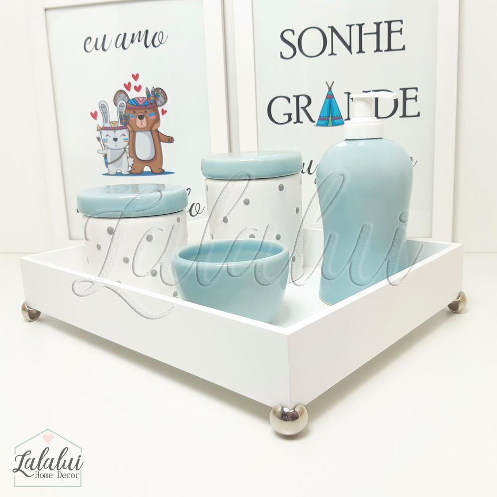 Kit Higiene Cinza, Azul e Branco com Poá  K16 (Quarto de Menino)