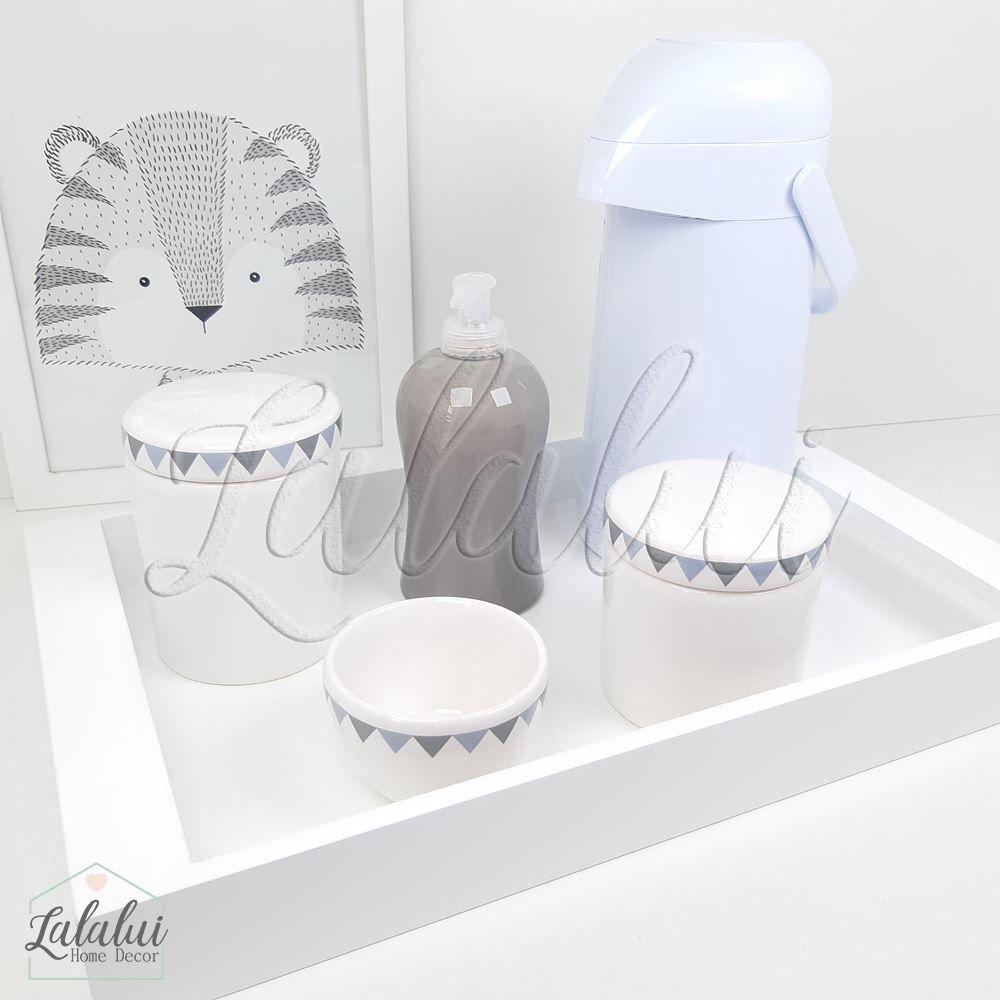 Kit Higiene Cinza, Branco e Amarelo com Poá  K33 (Quarto de Menino e Menina)