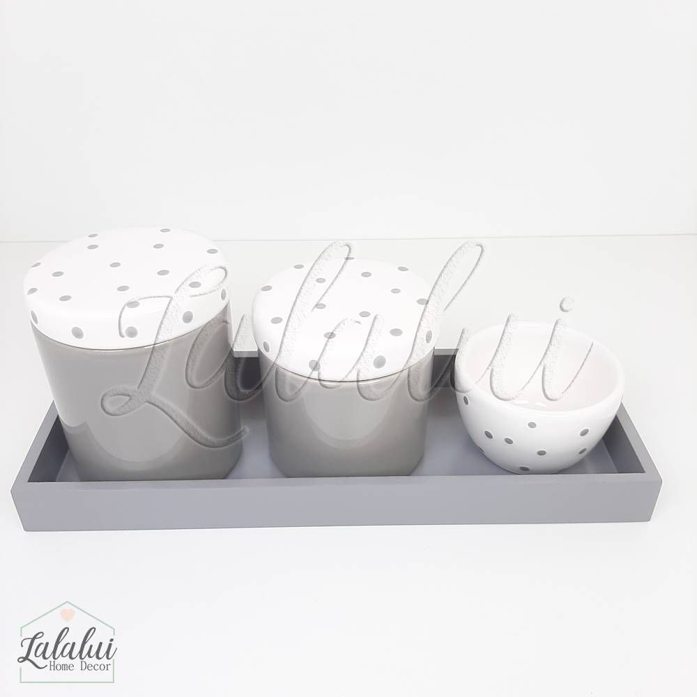 Kit Higiene | Cinza e Branco com Poás (LA2033)