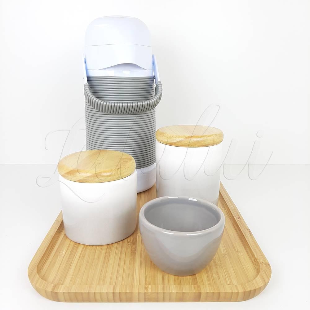 Kit Higiene | Degradê cinza com tampa de madeira pinus (LA2195)