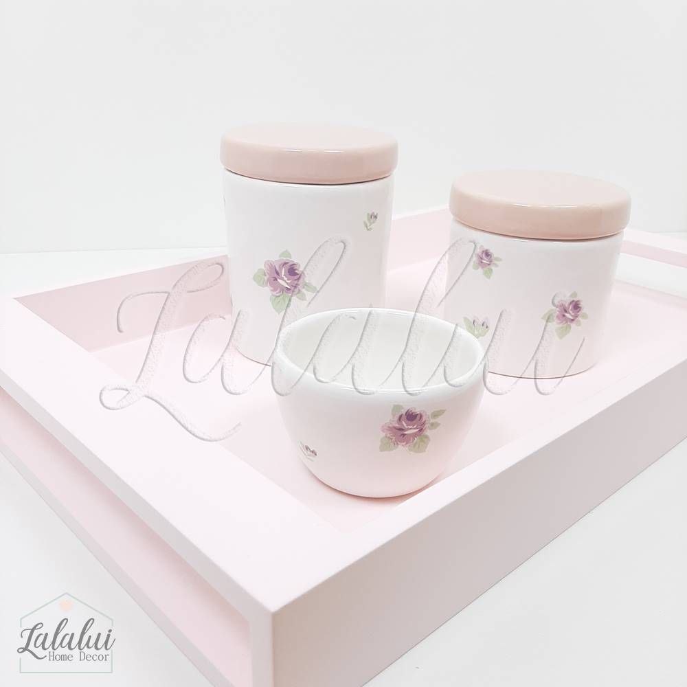 Kit Higiene | Floral Lilás e Rosa (LA2195)