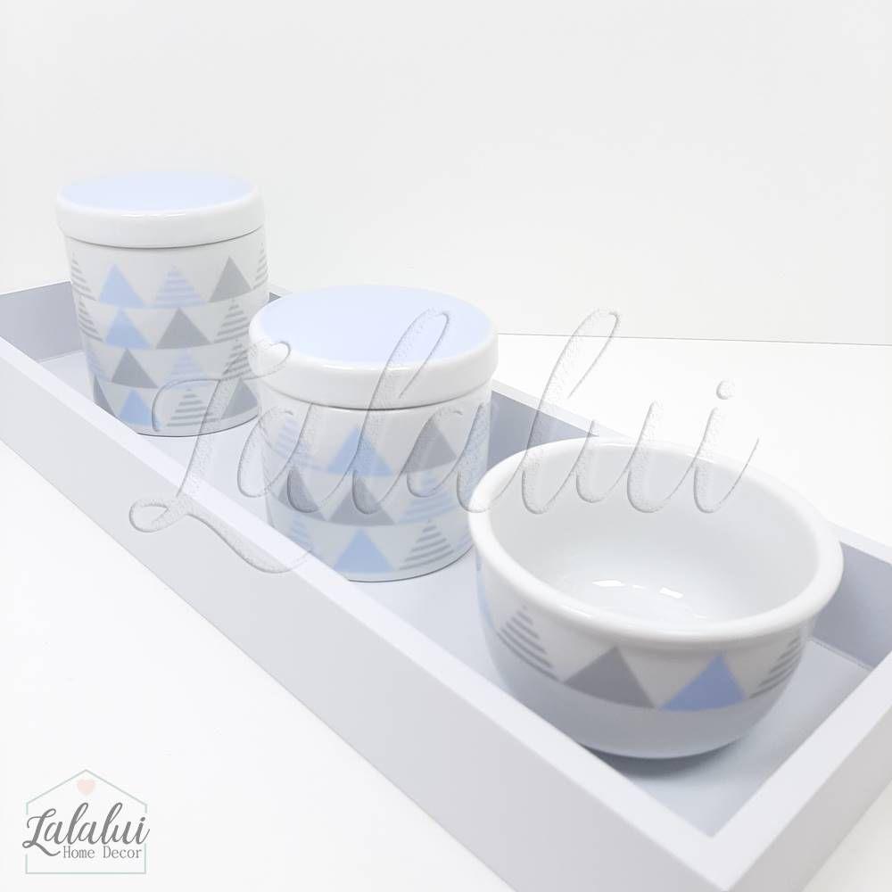 Kit Higiene | Geométrico Azul e Cinza (LA2185)