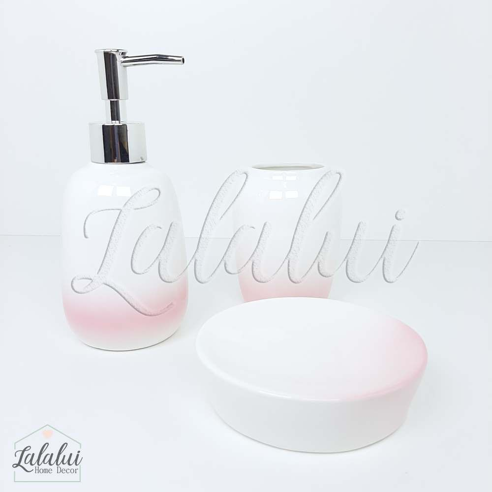 Kit Higiene | Kit para Lavabo Degradê Branco e Rosa 9,7x9,7x10x7cm (LA2147)