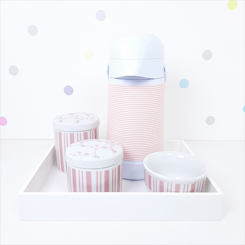 Kit Higiene | Listras e Floral Rosa com Bandeja de Mdf e Garrafa Alinhavada (LA2335)