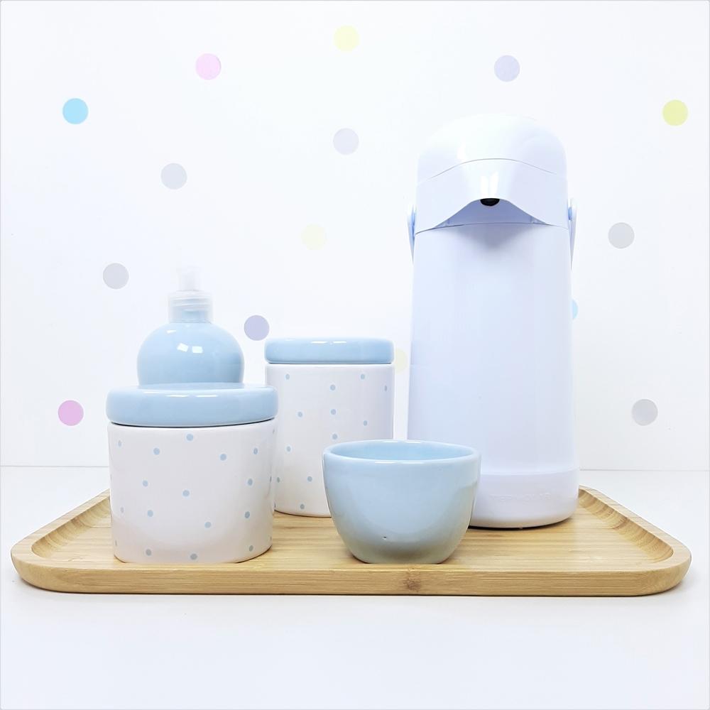 Kit Higiene | Poá Azul com Bandeja de Bambu e Garrafa Branca (LA2327)