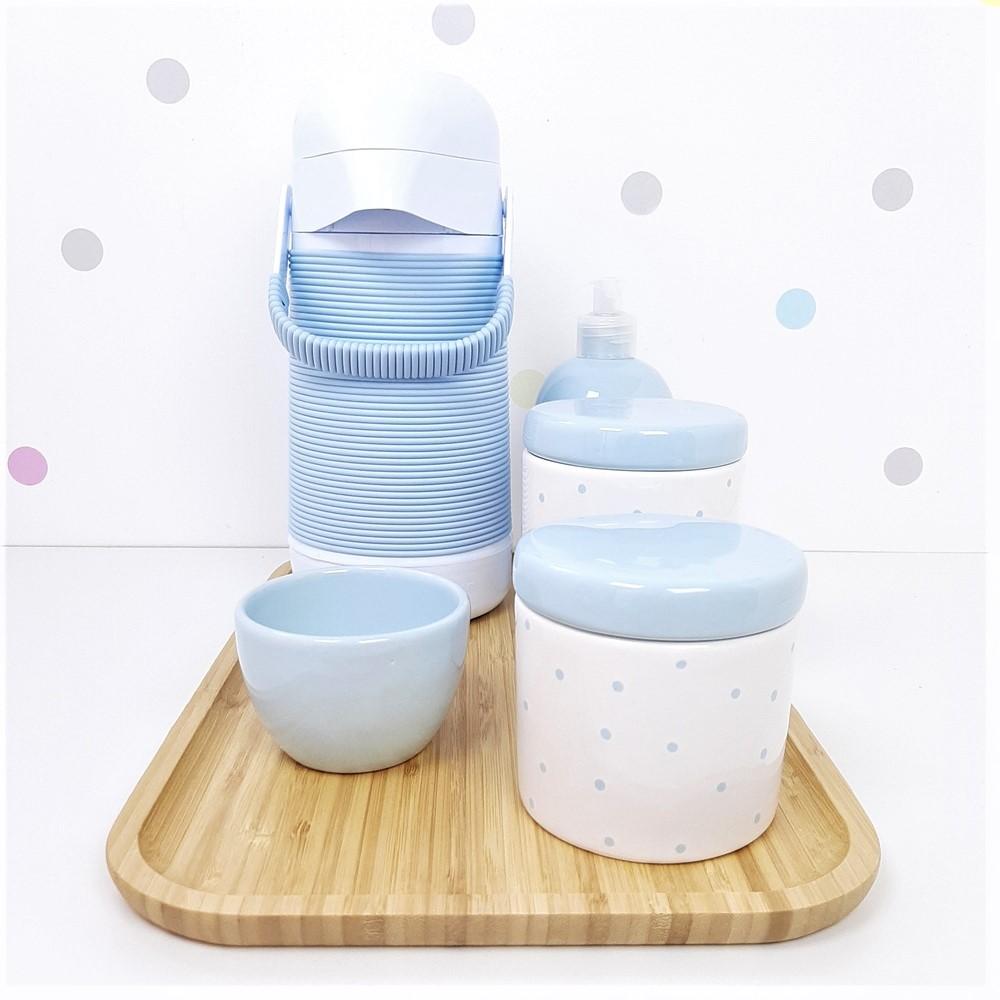 Kit Higiene | Poá Azul com Bandeja de Bambu e Garrafa (LA2317)