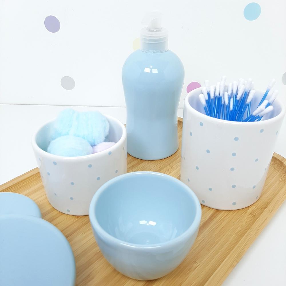 Kit Higiene | Poá Azul com Bandeja de Bambu (LA2307)