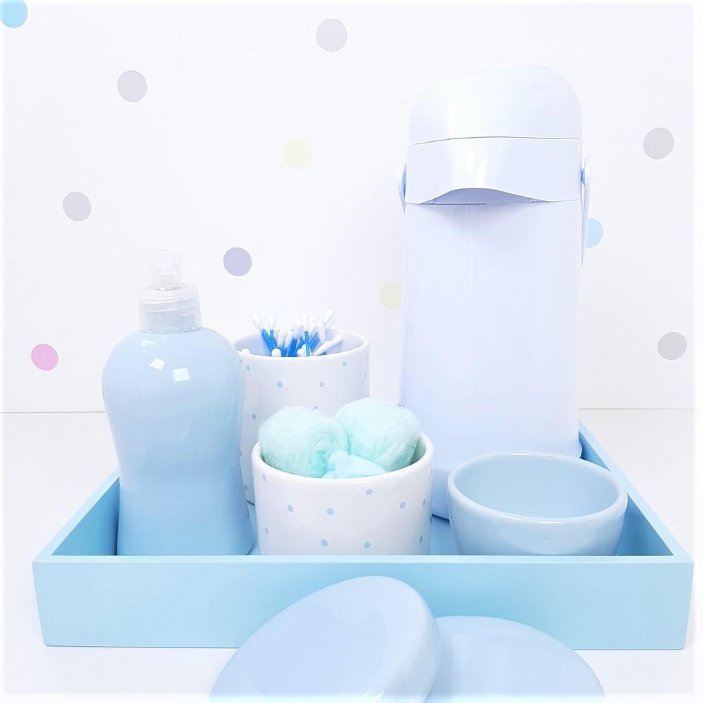 Kit Higiene | Poá Azul com Bandeja de Mdf e Garrafa Branca (LA2337)
