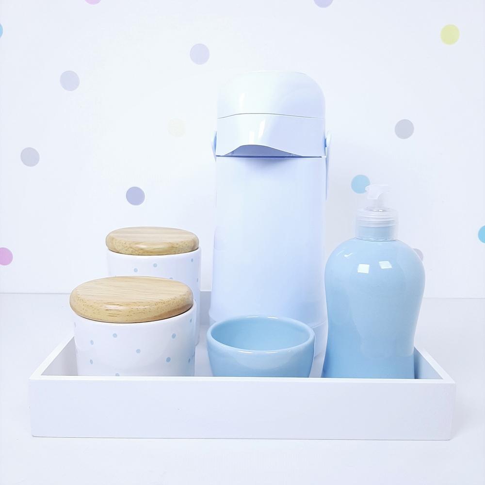 Kit Higiene | Poá Azul com Bandeja de Mdf e Garrafa (LA2343)