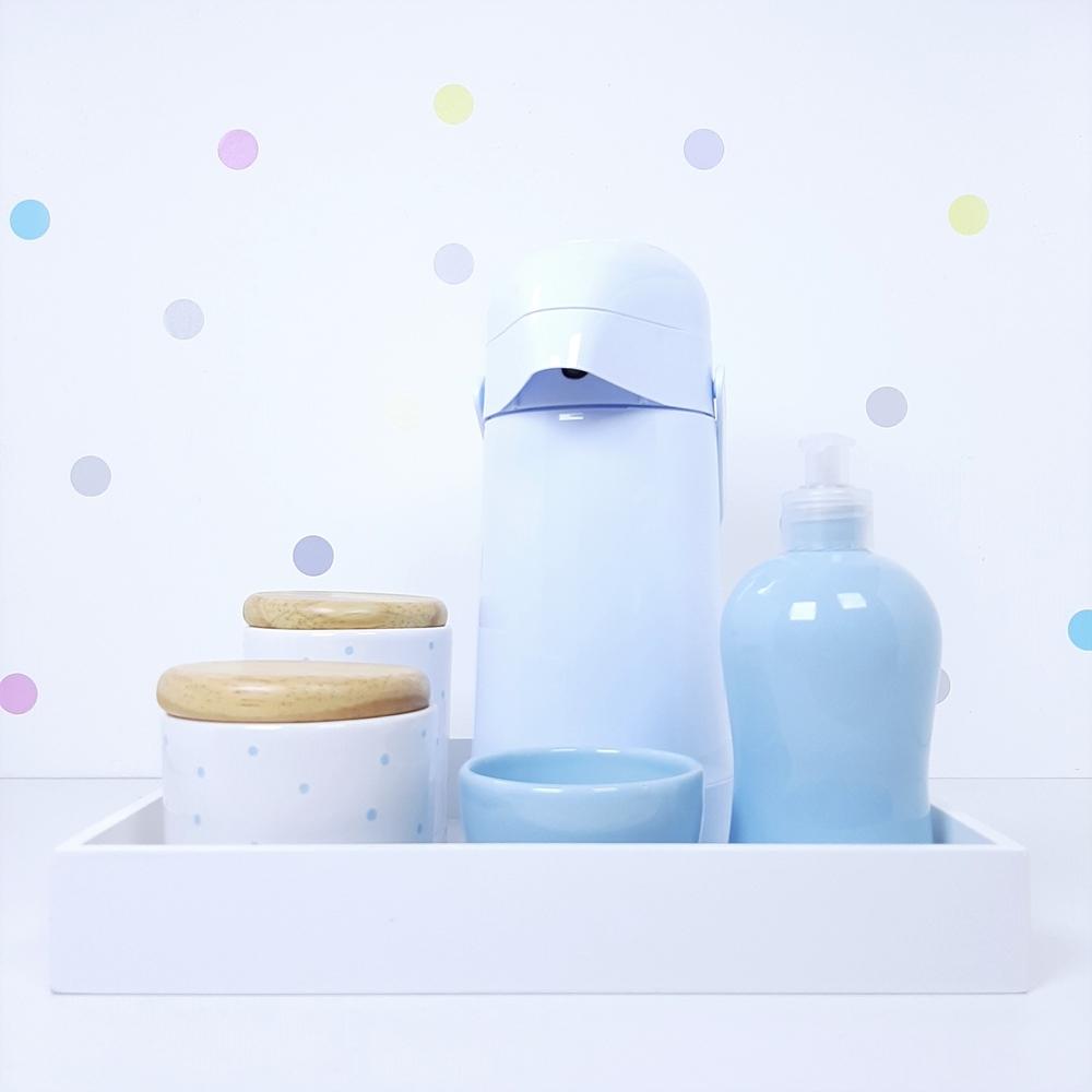Kit Higiene   Poá Azul com Bandeja de Mdf e Garrafa (LA2343)