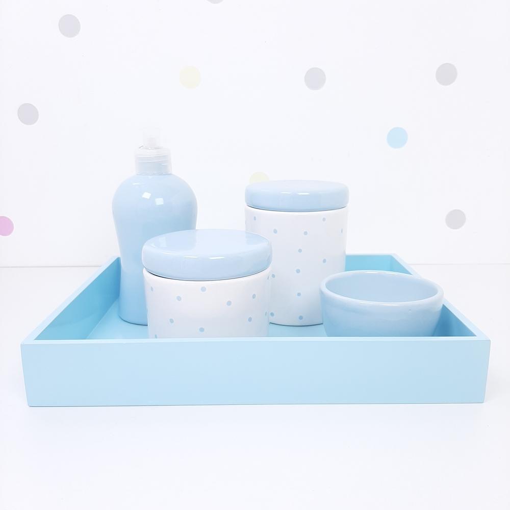 Kit Higiene | Poá Azul com Bandeja de Mdf (LA2355)