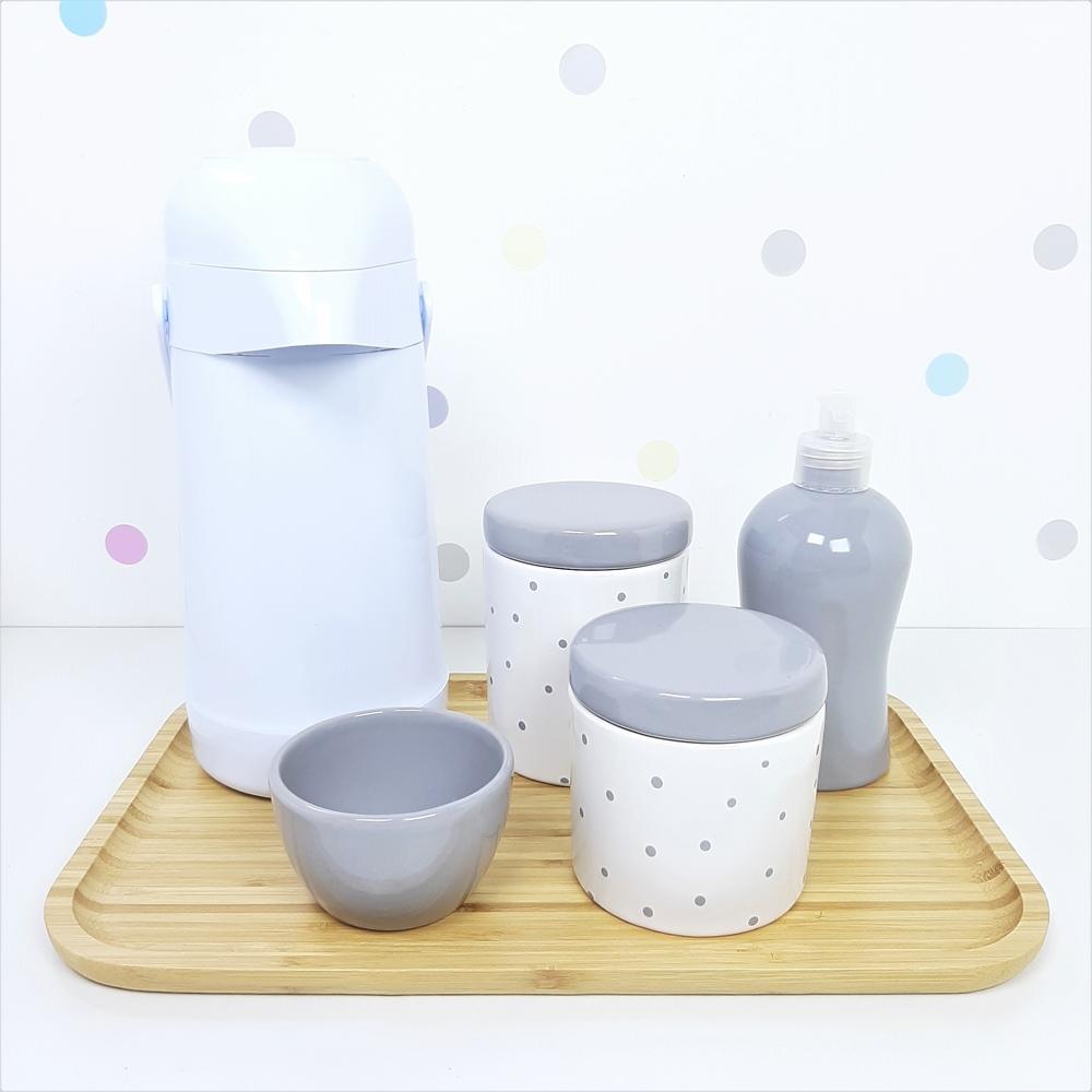 Kit Higiene | Poá Cinza com Bandeja de Bambu e Garrafa Branca (LA2329)