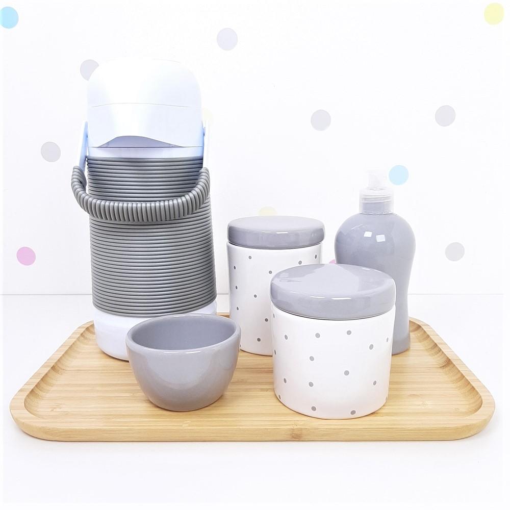 Kit Higiene | Poá Cinza com Bandeja de Bambu e Garrafa (LA2319)