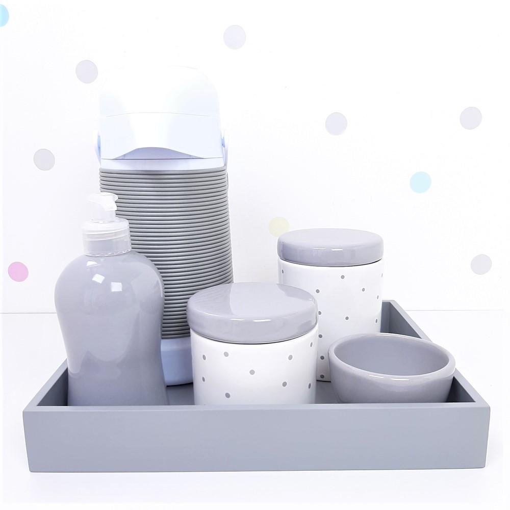 Kit Higiene | Poá Cinza com Bandeja de Mdf e Garrafa Alinhavada (LA2347)