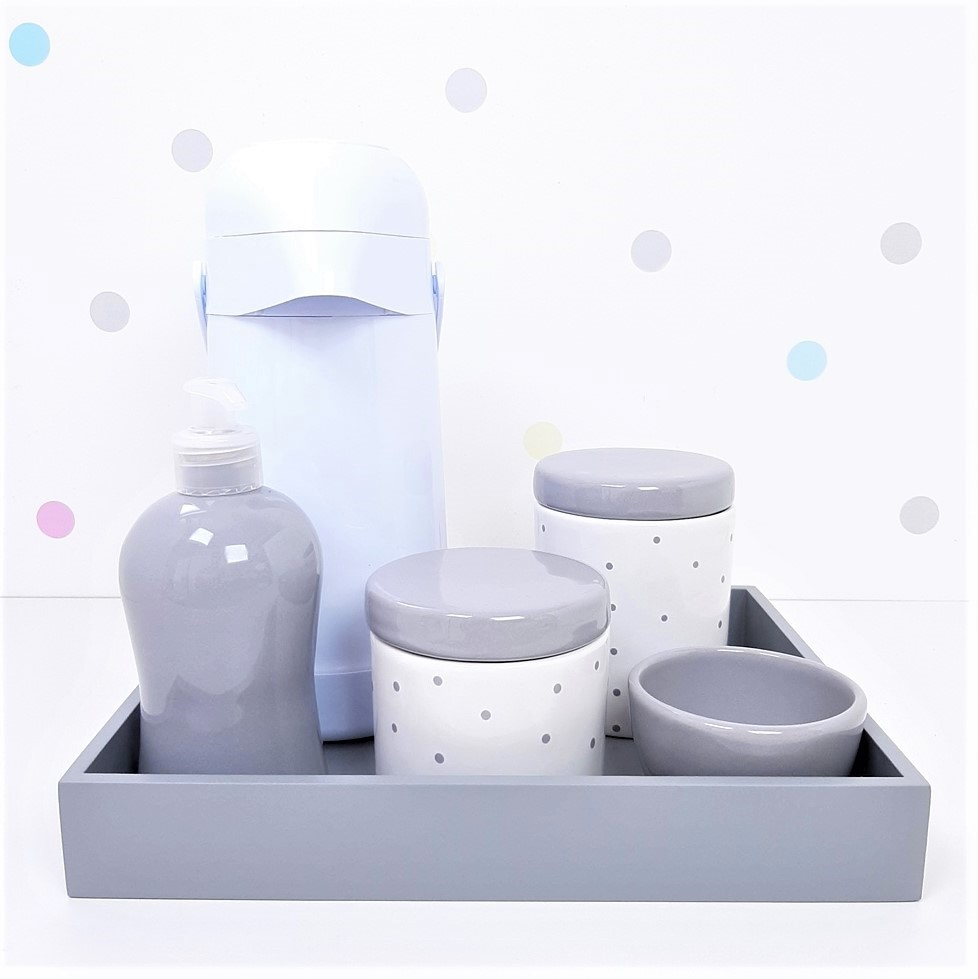 Kit Higiene | Poá Cinza com Bandeja de Mdf e Garrafa Branca (LA2339)