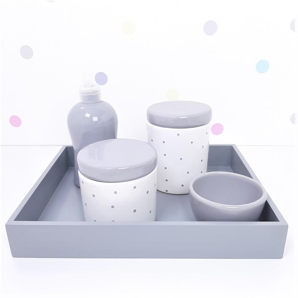 Kit Higiene | Poá Cinza com Bandeja de Mdf (LA2357)