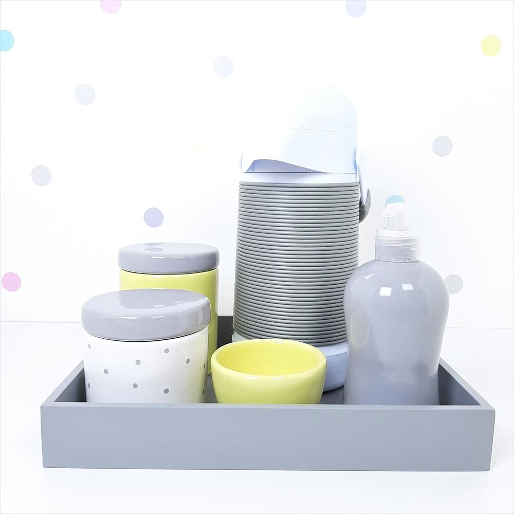 Kit Higiene | Poá Cinza e Amarelo com Bandeja de Mdf e Garrafa Alinhavada (LA2365)