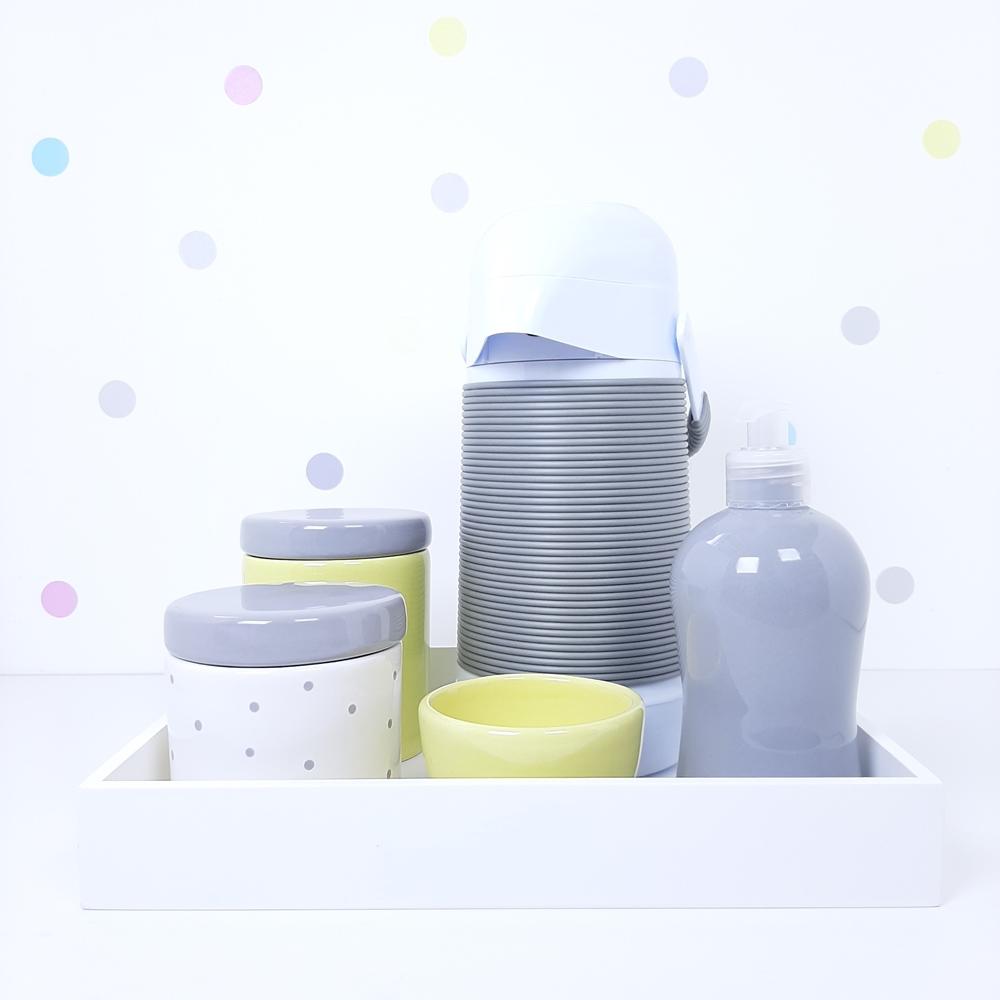Kit Higiene   Poá Cinza e Amarelo com Bandeja de Mdf e Garrafa Alinhavada (LA2365)