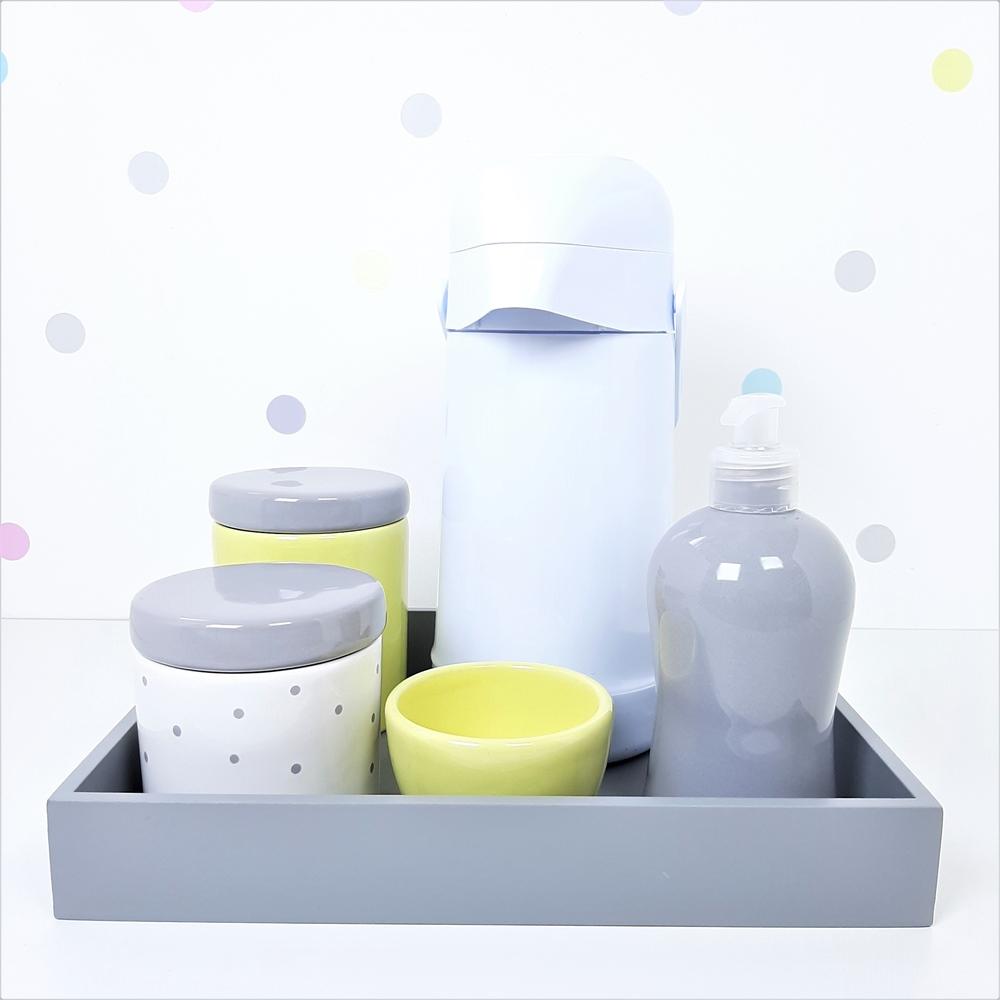 Kit Higiene | Poá Cinza e Amarelo com Bandeja de Mdf e Garrafa (LA2367)