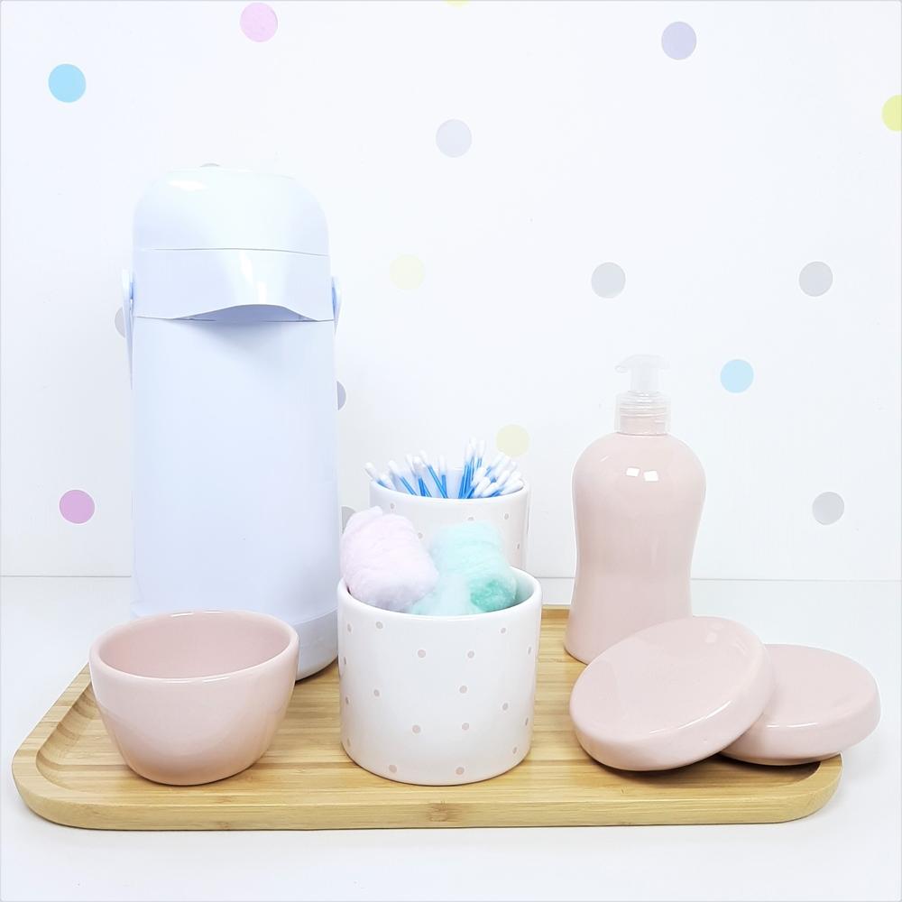 Kit Higiene | Poá Rosa com Bandeja de Bambu e Garrafa Branca (LA2325)