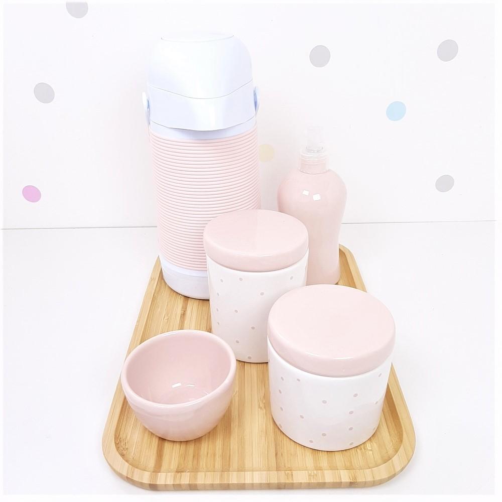 Kit Higiene | Poá Rosa com Bandeja de Bambu e Garrafa (LA2315)
