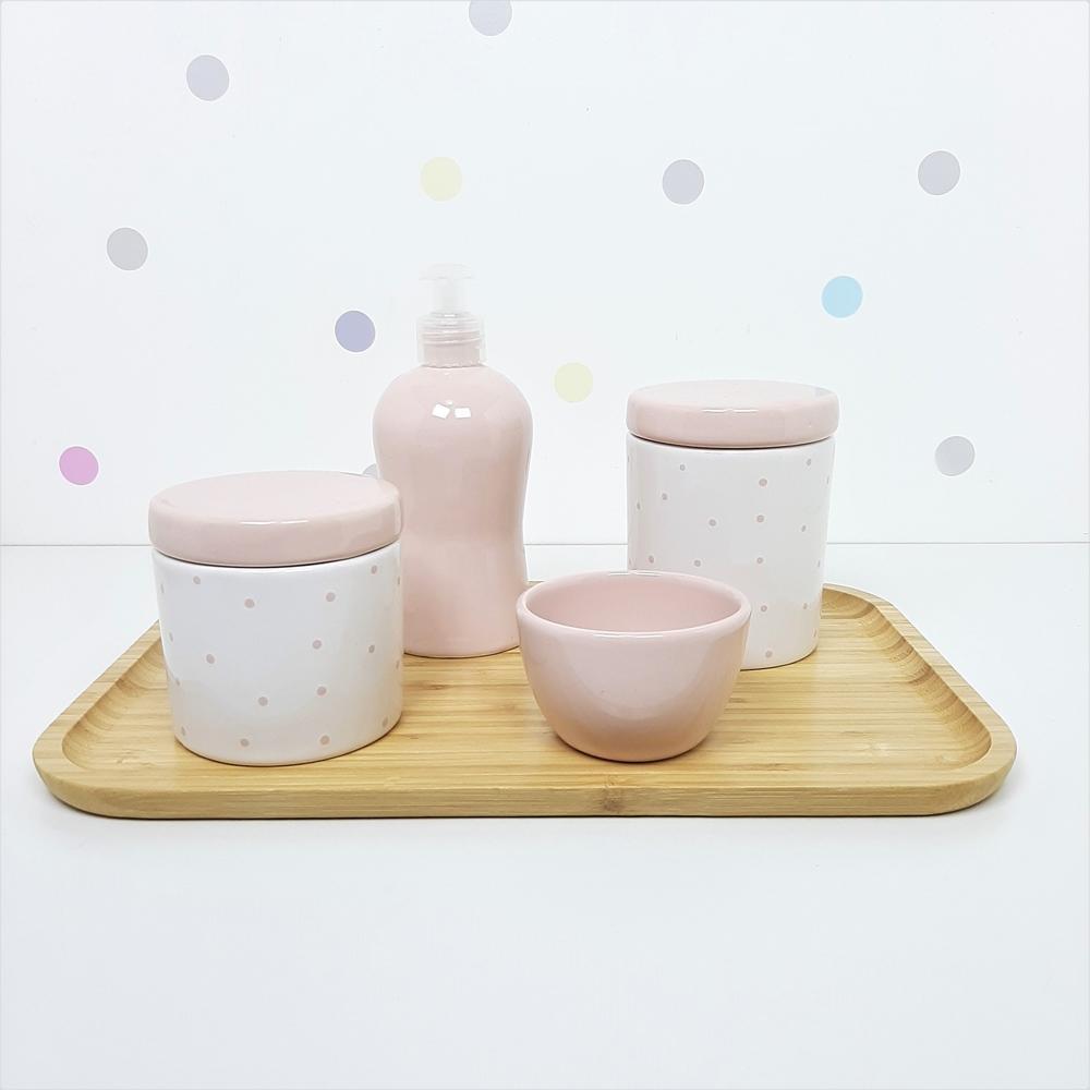 Kit Higiene | Poá Rosa com Bandeja de Bambu (LA2305)