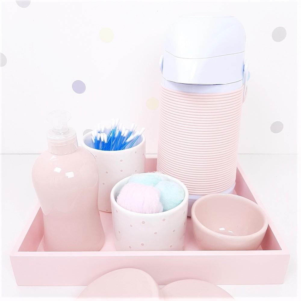 Kit Higiene | Poá Rosa com Bandeja de Mdf e Garrafa Alinhavada (LA2345)