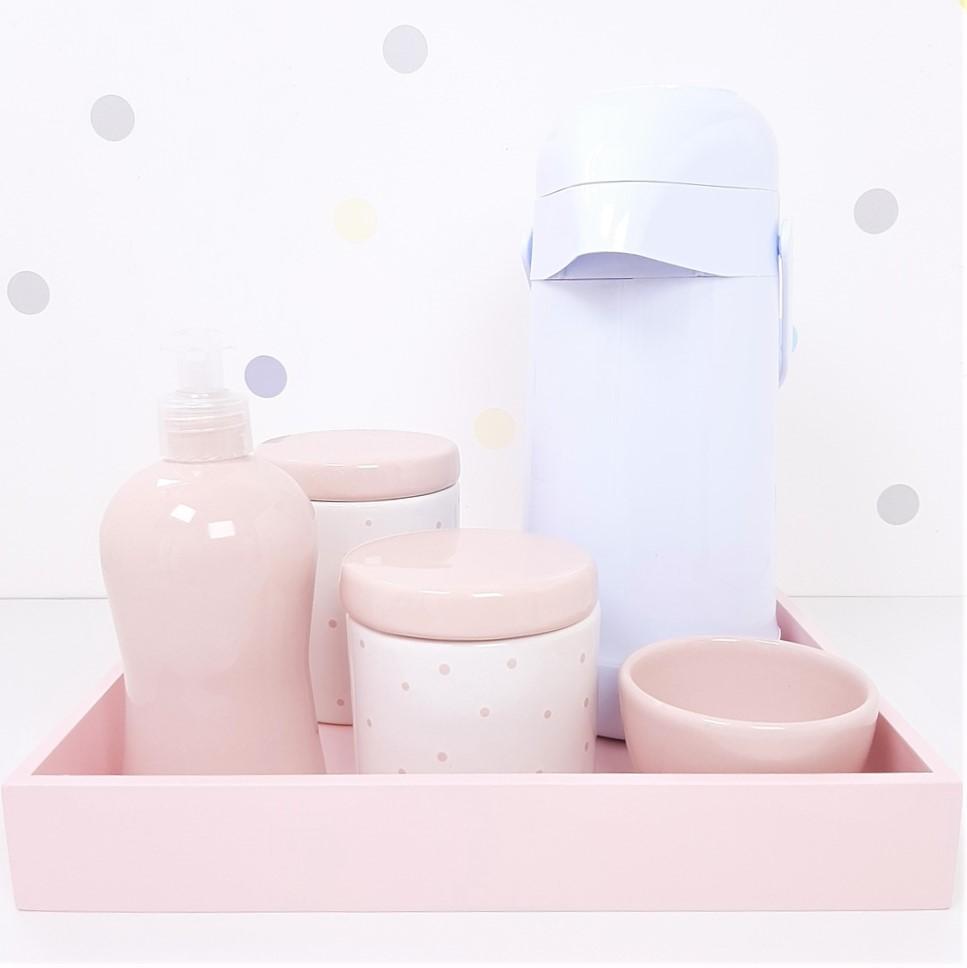 Kit Higiene | Poá Rosa com Bandeja de Mdf e Garrafa Branca (LA2335)